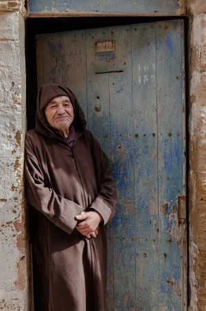 Moroccan poses portrait doorway essouira morocco travel
