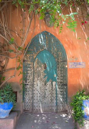 Colorful doorway marrakech medina travel