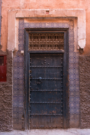 Blue doorway marrakech medina travel