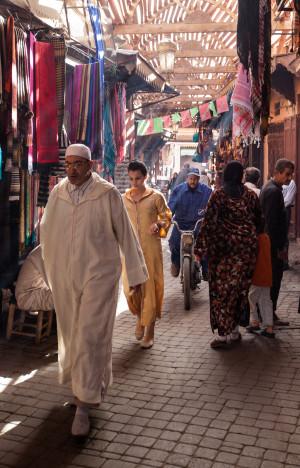 Busy street scene in marrakech medina souks travel