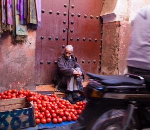 travel Street photography of tomato vendor, marrakech, morocco