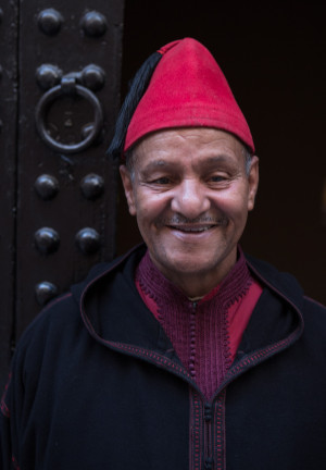 Portrait of greeter in Marrakech, while traveling
