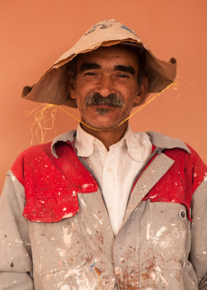 Portrait of worker, travel photography in Marrakech