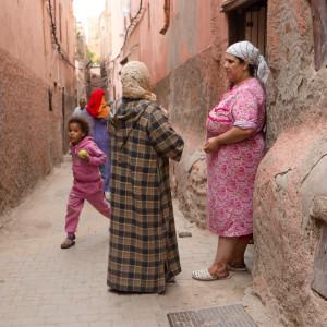 Street travel photography in medina of marrakech morocco