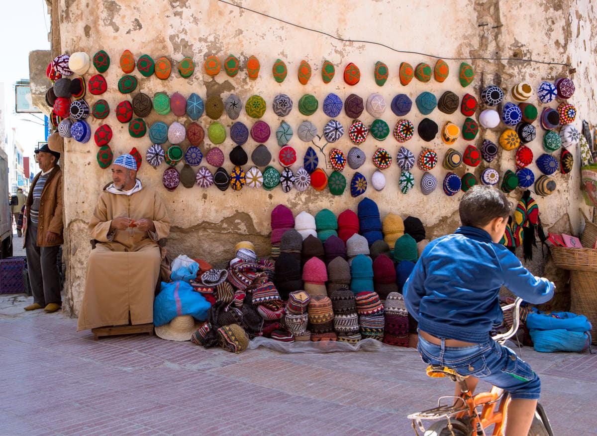 Essouira_Morocco_Hat_vendor_Street