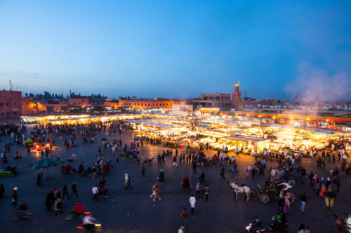 Djema_el_Fna_Dusk_Marrakech _street_scene